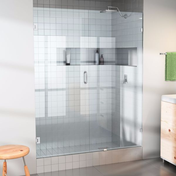 Glass Warehouse 78 x 34.5  Frameless Shower Door - Wall Hinge & Glass Warehouse 78 x 34.5