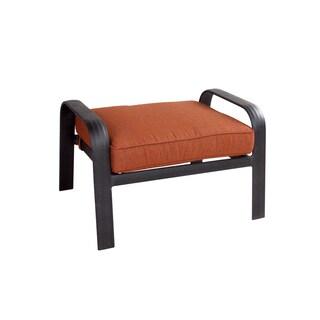 Aspen Antique Bronze Aluminum Ottoman with Chili Sunbrella Linen Cushion