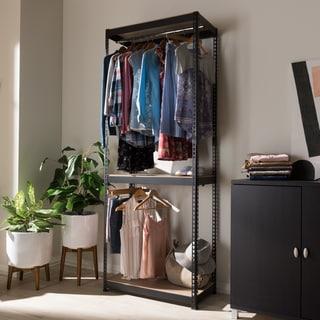 Metal 3 Shelf Closet Storage Racking Organizer By Baxton Studio (Option:  Black)