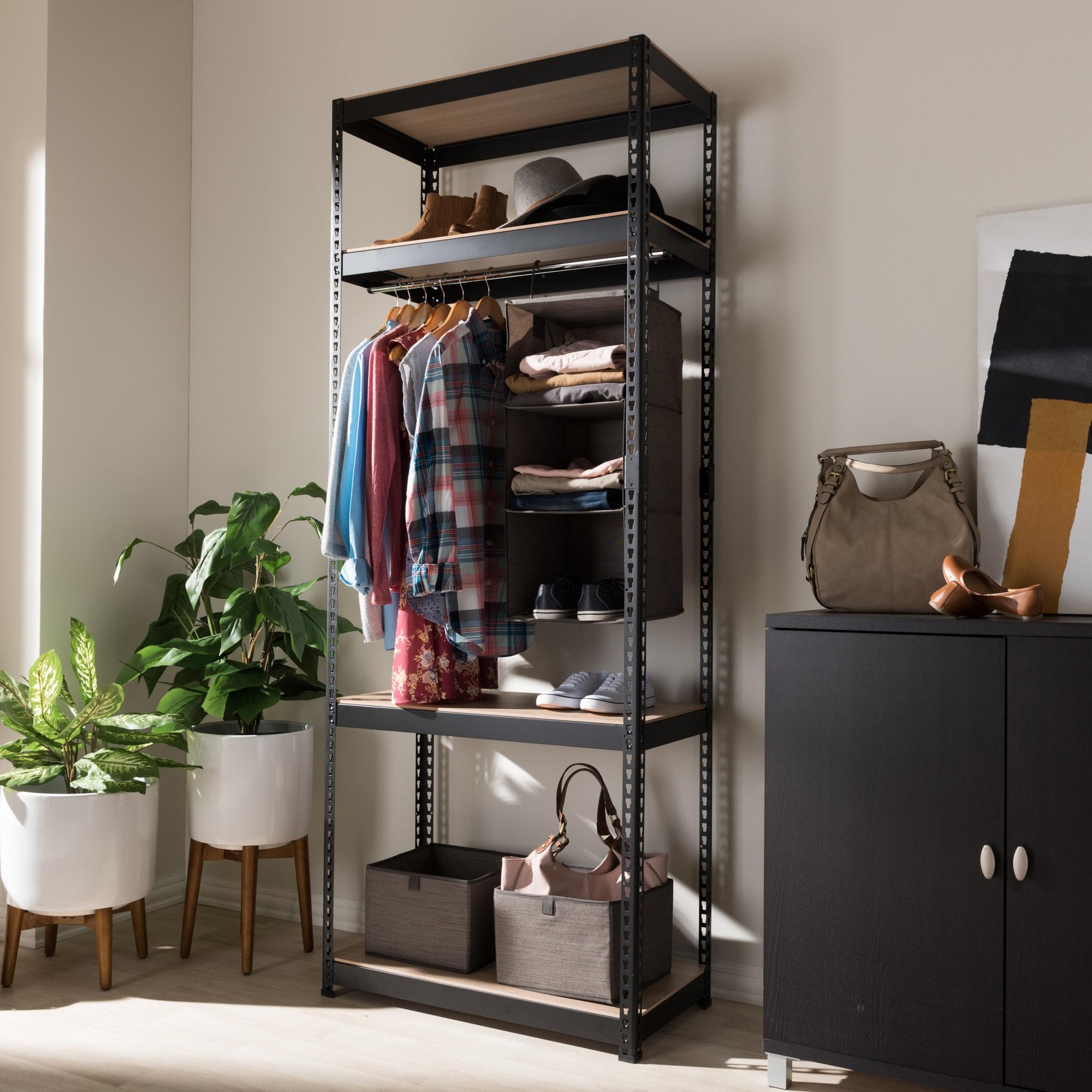 Metal 4-Shelf Closet Storage Racking Organizer by Baxton ...