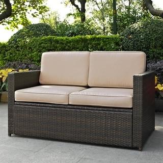 Crosley Furniture Palm Harbor Tan Cushion Outdoor Wicker over Metal Loveseat
