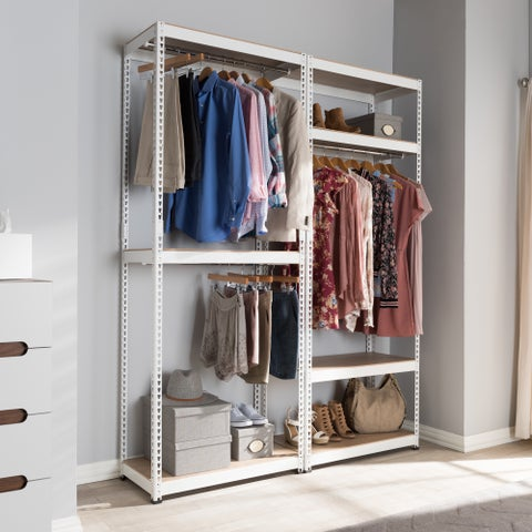 Baxton Studio Metal 7-Shelf Closet Storage Rack Organizer