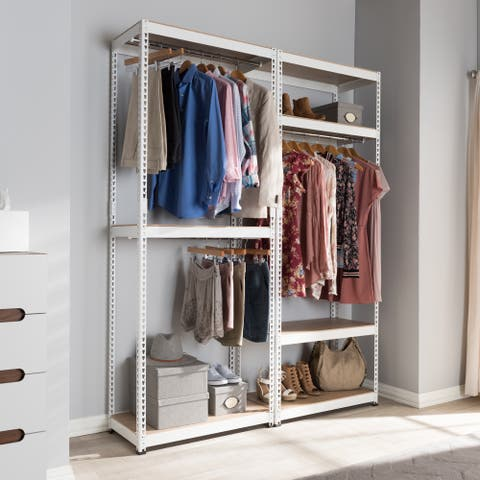 Baxton Studio Metal 7-Shelf Closet Storage Rack Organizer