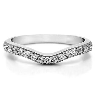 Sterling Silver Delicate Curved Wedding Ring mounted with White Sapphire (0.5 Cts. twt)