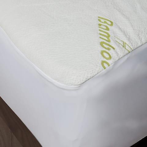 Maison Blanche - Bamboo Waterproof Mattress Protector - Green/Off-White