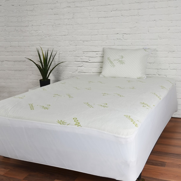 Rayon From Bamboo Waterproof Mattress Protector - Green/Off-White