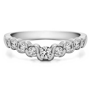 Sterling Silver Slightly Contoured Twirl Style Wedding Ring mounted with Cubic Zirconia (0.19 Cts. twt)