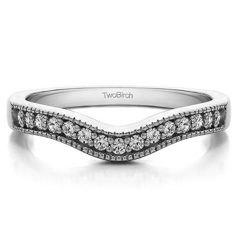 Sterling Silver Vintage Contour Band with Milgrained Edges mounted with Diamonds (G-H, I2-I3) (0.33 Cts. twt)