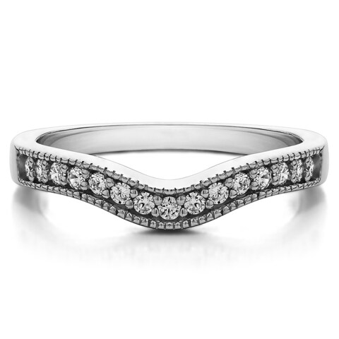 Sterling Silver Vintage Contour Band with Milgrained Edges mounted with Cubic Zirconia (0.25 Cts. twt)