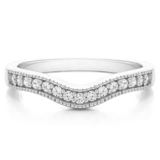 Sterling Silver Vintage Contour Band with Milgrained Edges mounted with Cubic Zirconia (0.25 Cts. twt) (Option: 10.5)|https://ak1.ostkcdn.com/images/products/15962519/P22360702.jpg?impolicy=medium