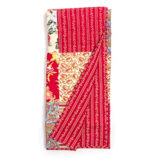 Marona Red Floral Patchwork Quilted Throw�