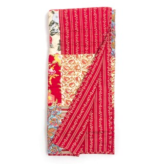 Marona Red Floral Patchwork Quilted Throw