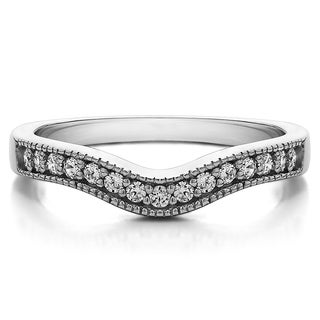 Platinum Vintage Contour Band with Milgrained Edges mounted with Diamonds (G-H, SI2-I1) (0.25 Cts. twt)