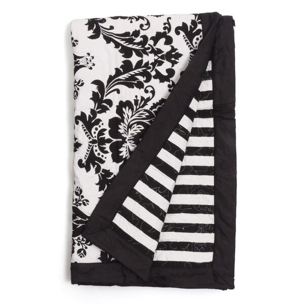 Dalilah Classic Damask Quilted Black Throw�