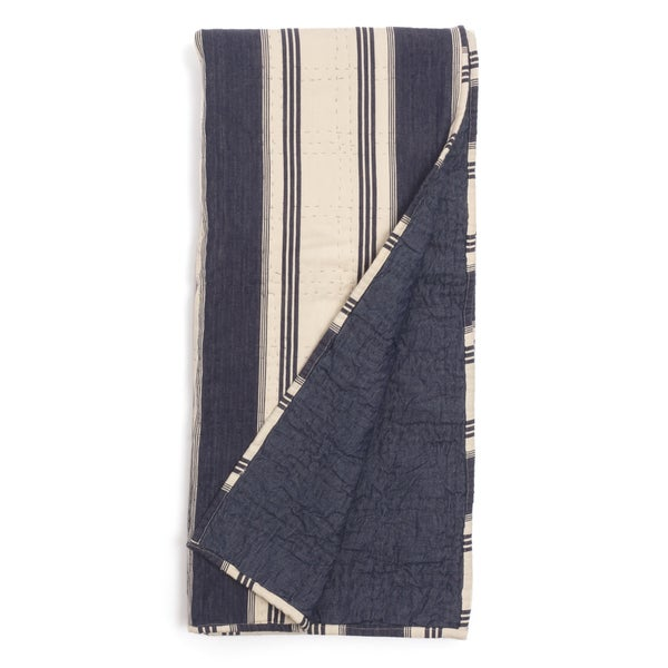 Cameron Blue Striped Quilted Cotton Throw