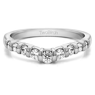 Platinum Classic Style Contour Tracer Band mounted with Diamonds (G-H, SI2-I1) (0.42 Cts. twt)