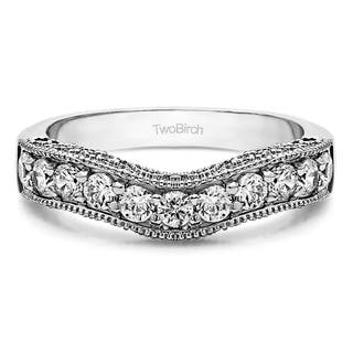 Platinum Vintage Filigree & Milgrained Wedding Band mounted with Diamonds (G-H, SI2-I1) (0.5 Cts. twt)|https://ak1.ostkcdn.com/images/products/15962784/P22360775.jpg?impolicy=medium