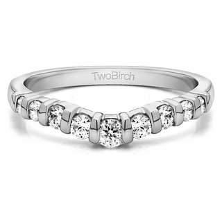 Platinum Classic Style Contour Tracer Band mounted with Diamonds (G-H, SI2-I1) (0.75 Cts. twt)