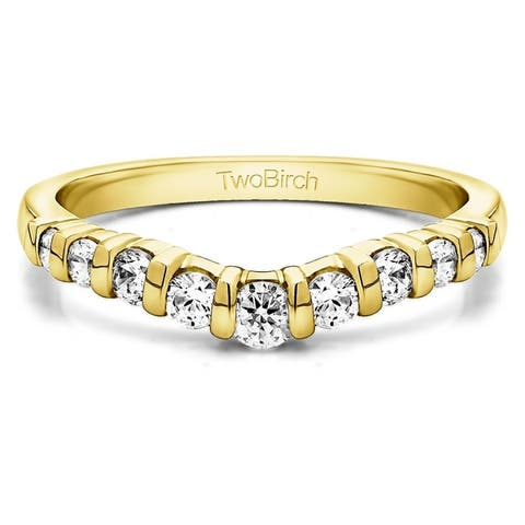 Sterling Silver Classic Style Contour Tracer Band mounted with Cubic Zirconia (0.33 Cts. twt)