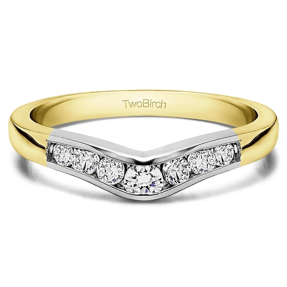 53b79302ab4 14k Gold Graduated d Classic Contour Wedding Ring mounted with Cubic ...