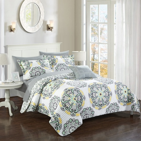 Chic Home 8-Piece Miranda Grey Quilt Set