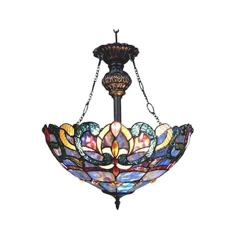 Nora Tiffany Style Victorian Design 2-light Dark Antique Bronze Inverted Pendant