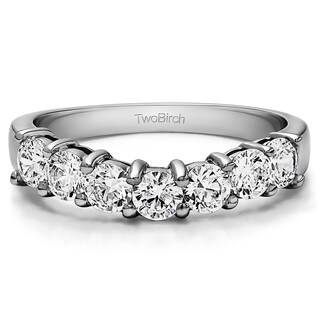 Platinum Slightly Contoured Classic Style Wedding Ring mounted with Diamonds (G-H, SI2-I1) (0.75 Cts. twt)