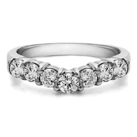 Sterling Silver Slightly Contoured Classic Style Wedding Ring mounted with Diamonds (G-H, I2-I3) (0.25 Cts. twt)