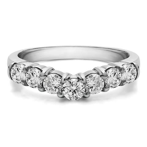 Sterling Silver Slightly Contoured Classic Style Wedding Ring mounted with Diamonds (G-H, I2-I3) (0.33 Cts. twt)