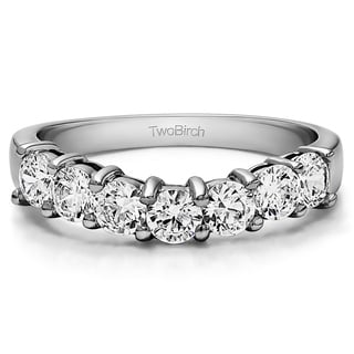 Sterling Silver Slightly Contoured Classic Style Wedding Ring Mounted With White Sapphire 0 25 Cts Twt