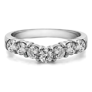 Sterling Silver Slightly Contoured Classic Style Wedding Ring mounted with White Sapphire (0.5 Cts. twt)