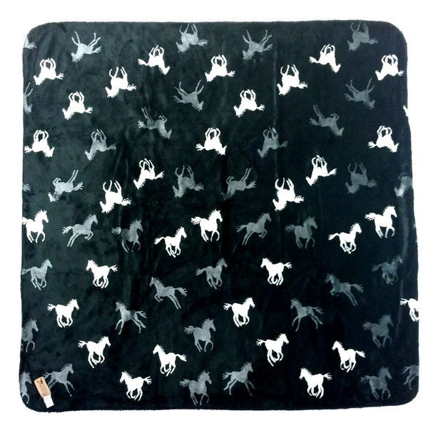 Mazmania Black Horses Microplush Blanket Throw