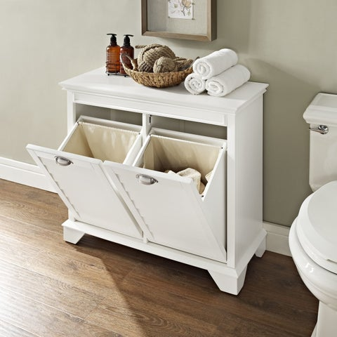 Lydia Linen Hamper in White