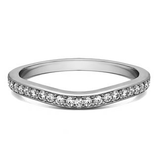 14K Gold Dainty Curved Tracer Band mounted with White Sapphire (0.25 Cts. twt)