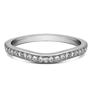 14K Gold Dainty Curved Tracer Band mounted with White Sapphire (0.42 Cts. twt)