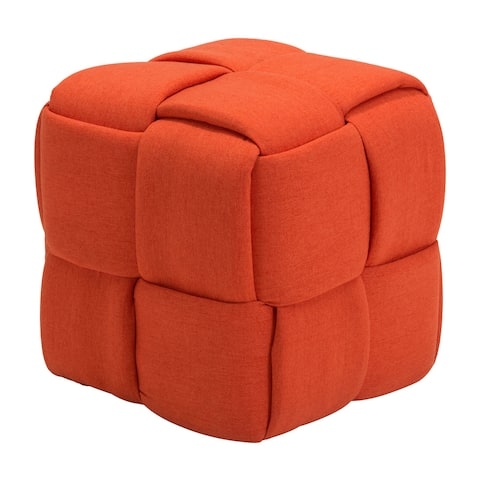 Checks Orange Fabric Stool