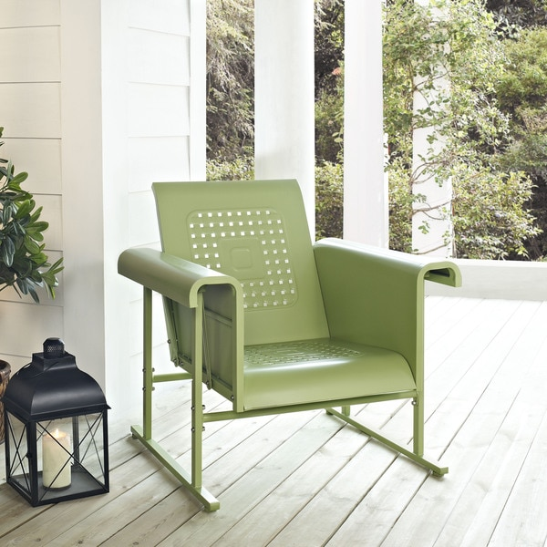 Veranda Oasis Green Steel Single Glider Chair