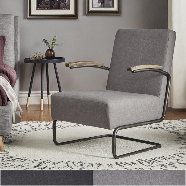 Shop Sagan Grey Linen Black Metal Leg Accent Chair Inspire
