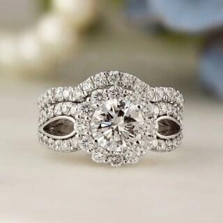 Auriya 14k Gold 2 1/3ct TDW Certified Round Cut Diamond Halo Bridal Ring Set (J-K, I1-I2)