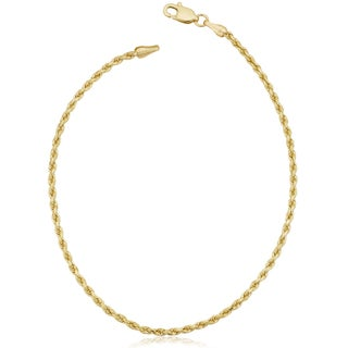 Fremada 10k Yellow Gold 1.7-mm Solid Rope Chain Anklet (10 inches)