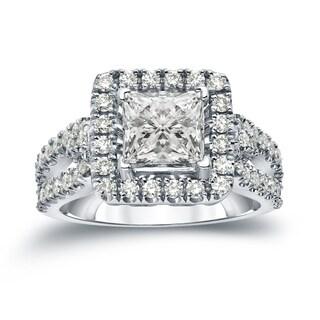 Auriya 14k Gold 1 3/4ct TDW Certified Princess Cut Diamond Halo Engagement Ring (J-K, I1-I2)