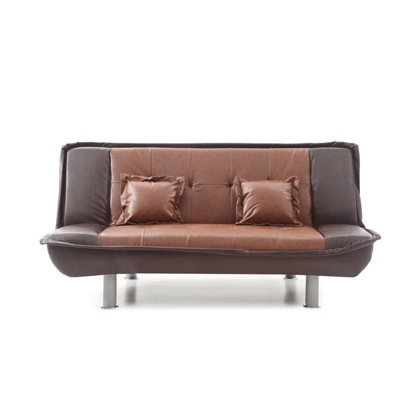 Shop LYKE Home 2-tone Faux Leather Sofa Bed - Free Shipping ...