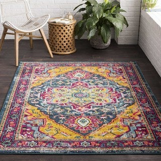 """Persian Vintage Distressed Blue and Yellow Area Rug - 7'10"""" x 10'3"""""""