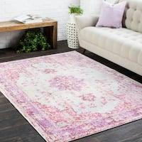 Vintage Distressed Oriental Pink Area Rug - 7'10 x 10'6