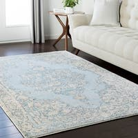 "Traditional Light Blue Vintage Medallion Area Rug - 9'2"" x 12'3"""