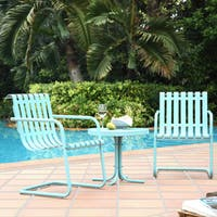 Gracie Metal Outdoor Conversation 3-piece Seating Set with 2 Chairs and Side Table in Caribbean Blue