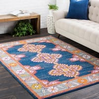 Persian Inspired Boho Navy & Pink Area Rug (9'3 x 12'6)