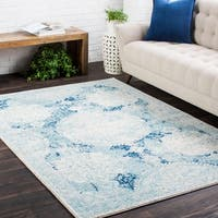 Distressed Vintage Medallion Blue Area Rug - 9'3 x 12'6