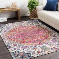 Annie Pink & Ivory Bohemian Medallion Area Rug (9'3 x 12'6)