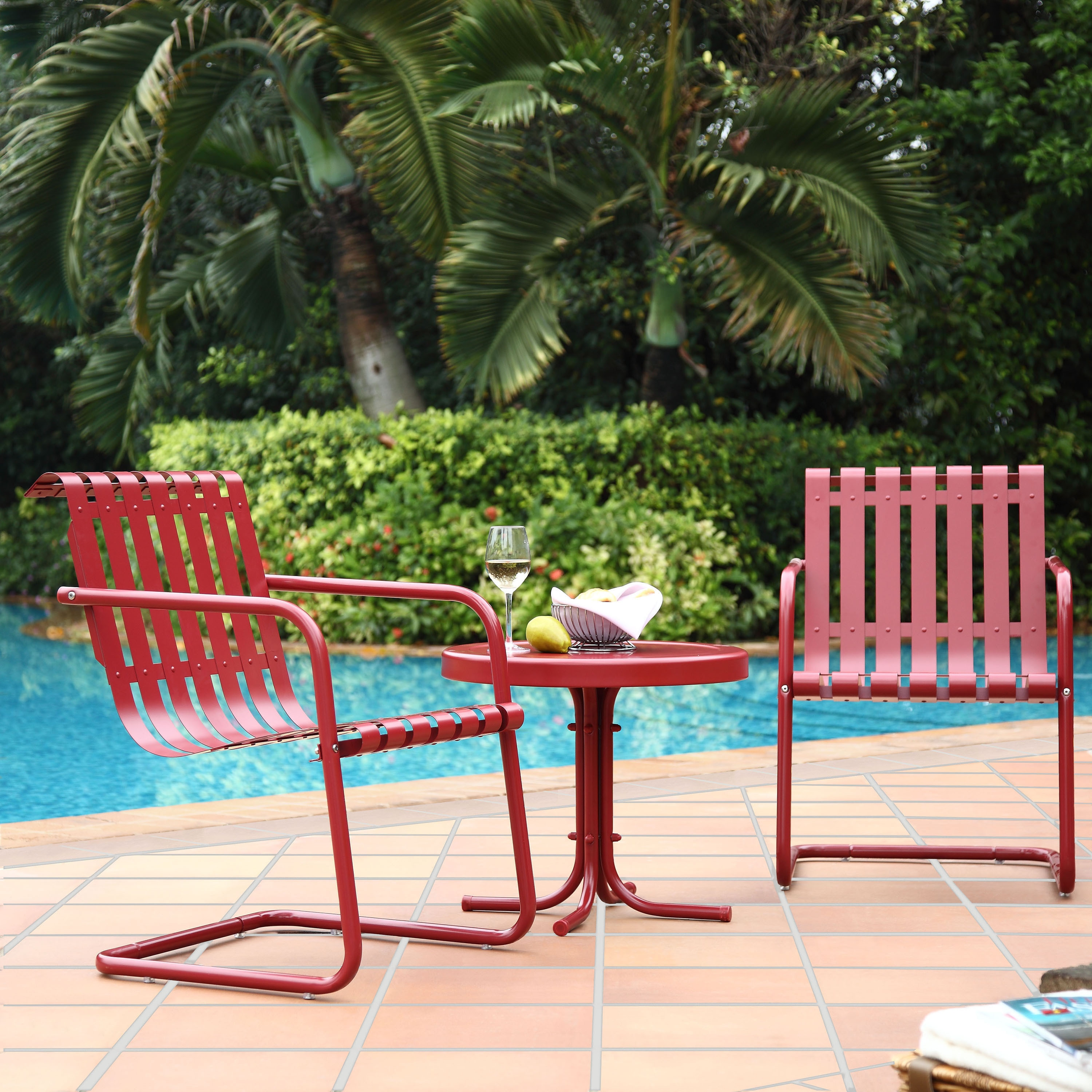 Picture of: Gracie Coral Red Metal 3 Piece Outdoor Conversation Seating Set Overstock 15963573